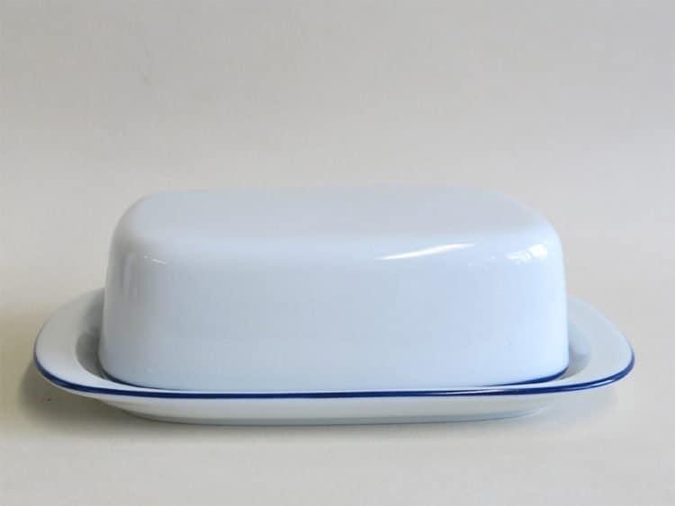 Butterdose mit blauem Rand für 250 gr. Butter