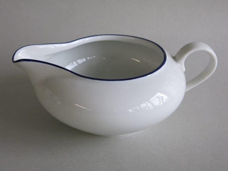 Sauciere Olympia weißem Porzellan mit blauem Rand 370ml