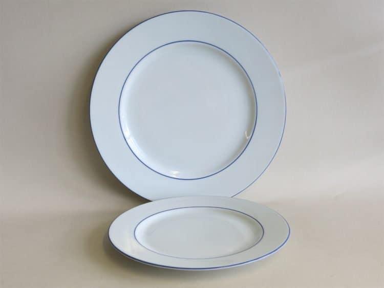 Speiseteller 24 cm und Kuchenteller 20 cm mit doppeltem Blaurand