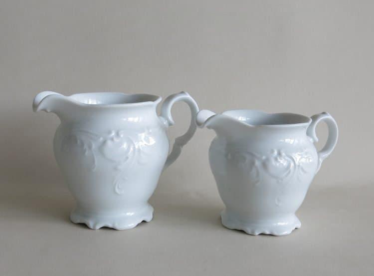 Weißes Porzellan Milchgießer oder Sahnekännchen 300ml und 250 ml Friederike