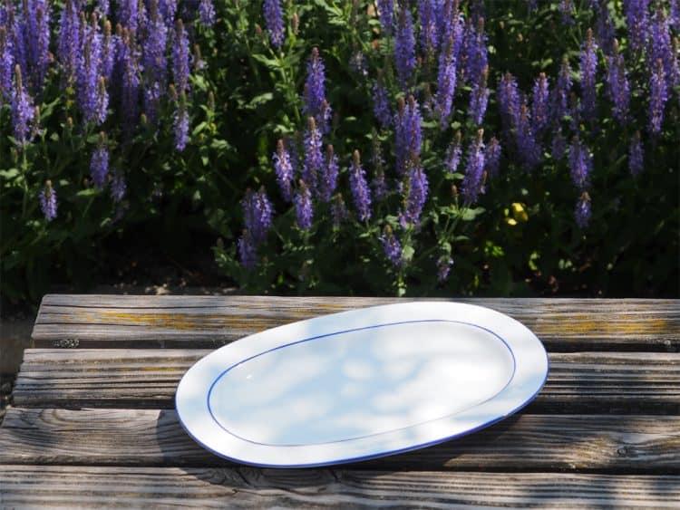 Platte Porzellanserie Opty 33 cm mit blauem Rand