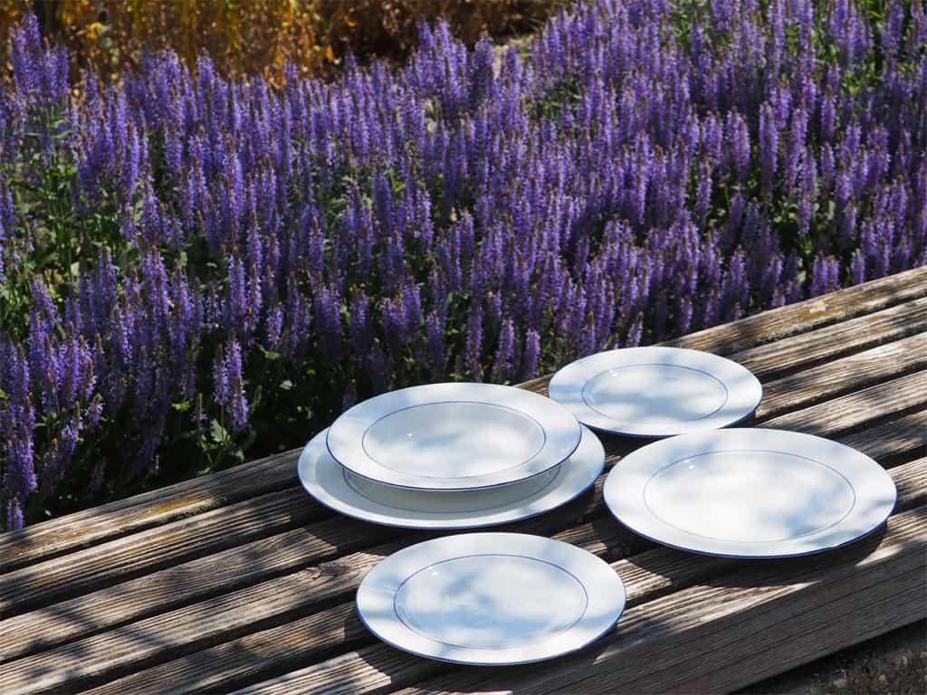 Blaurandteller alle Größen Speise- und Abendbrotteller und Suppenteller