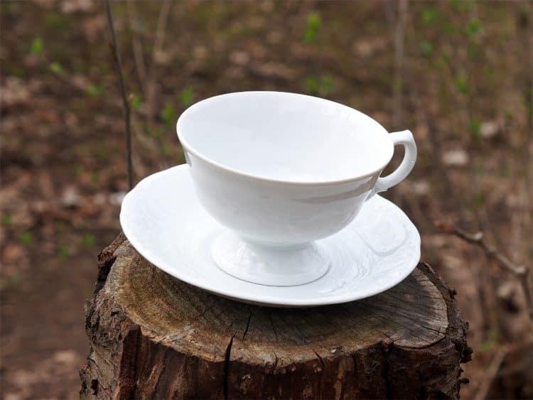 Friederike Weiße Porzellan Teetasse mit Untertasse