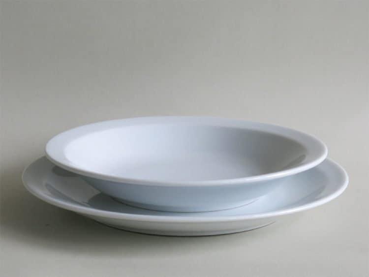 Suppenteller 21 cm u. Essteller 24 cm Kindergartengeschirr Scandia Porzellan weiß