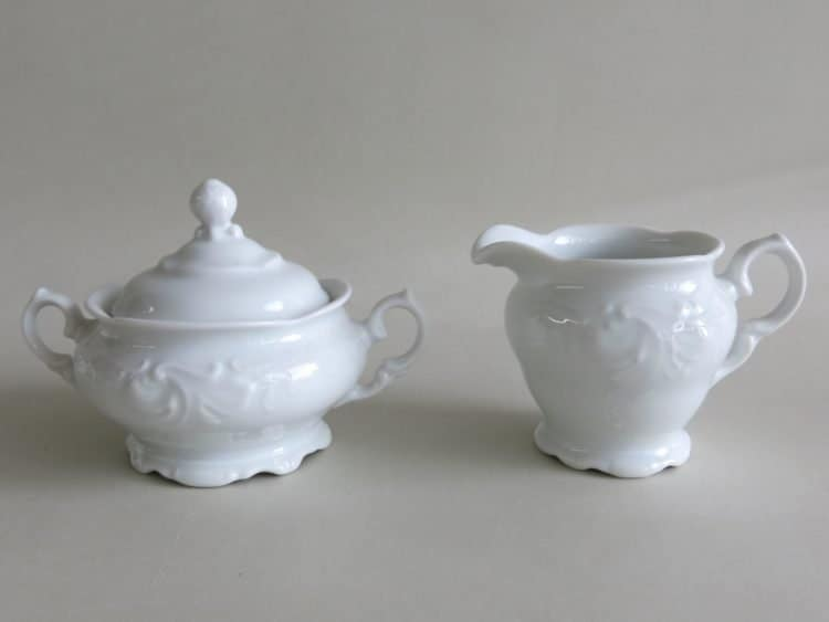 Weiße Porzellan Milchgiesser und Zuckerdose 250 ml Friederike