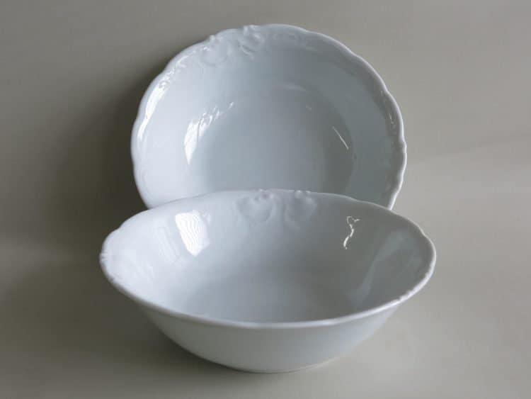 Schüsseln Friederike aus weißem Porzellan mit Roncaille