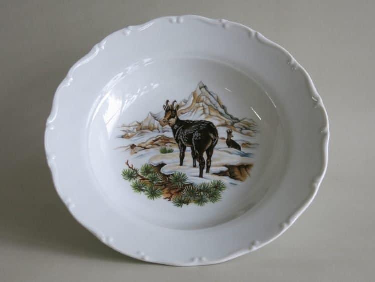 Porzellan Suppenteller Ofelie mit Jagdmotiv oder Wildmotiv Gams