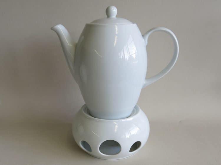 Kaffeekanne mit Stövchen Porzellan weiß
