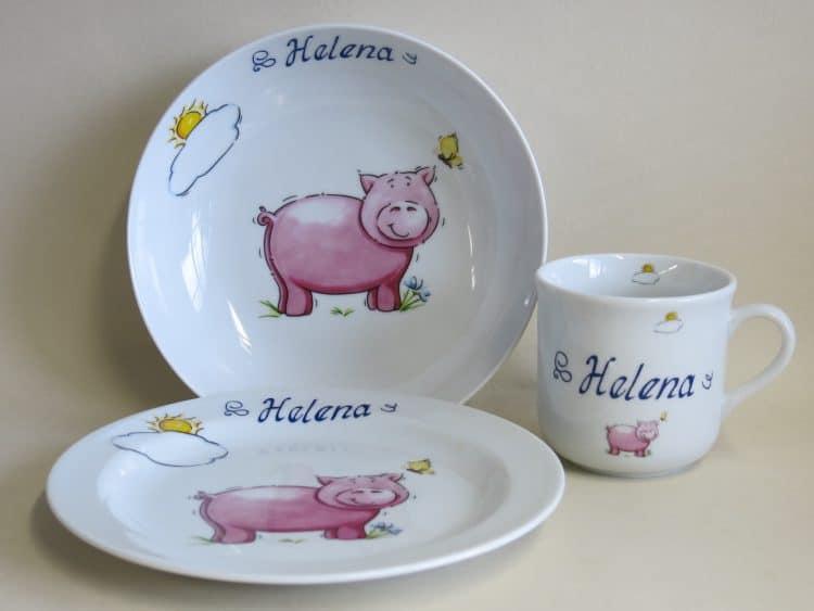 Set Coup mit Schwein und Sonne personalisiert