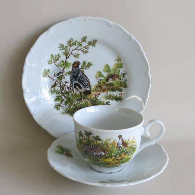 Gedeck Teetasse Ofelie jagdmotiv Rebhuhn