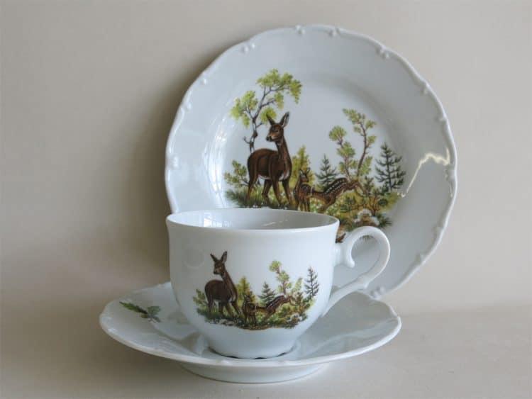 Gedeck Teetasse Ofelie mit Unterteller Jagdmotiv Reh