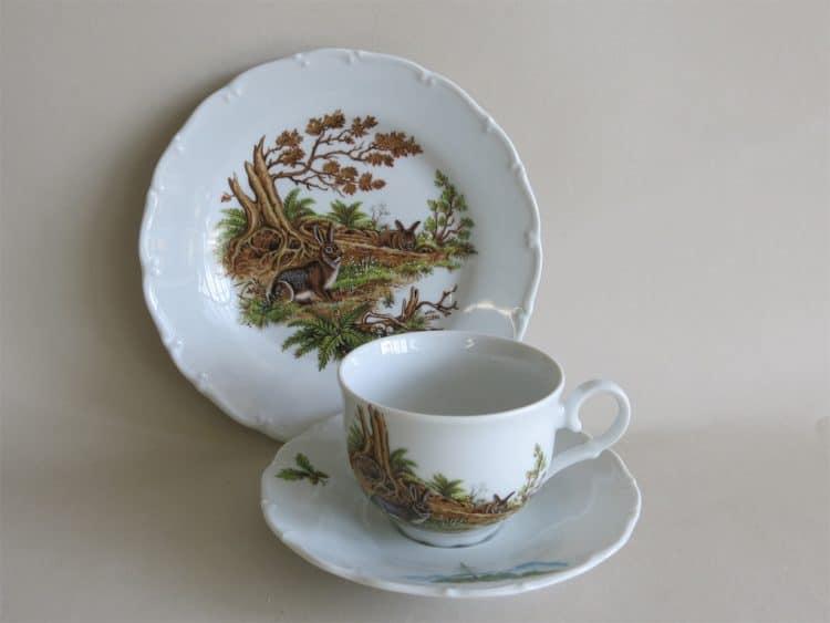 Gedeck Teetasse Ofelie Jagdmotiv Wildkaninchen