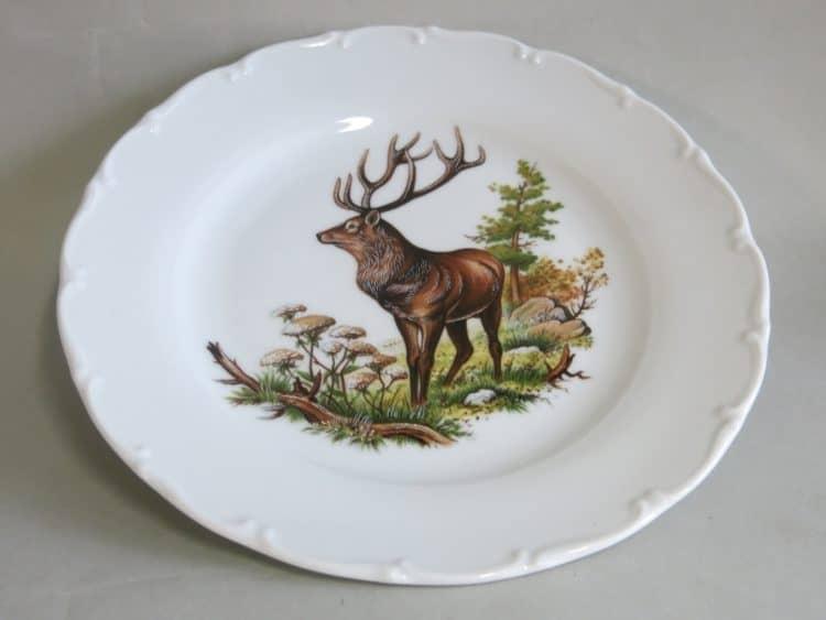Jagdmotiv Hirsch stehend Teller Ofelie