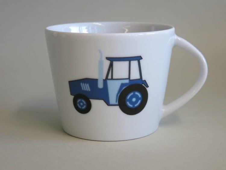 Krippenkinder Tasse Clio blauer Traktor