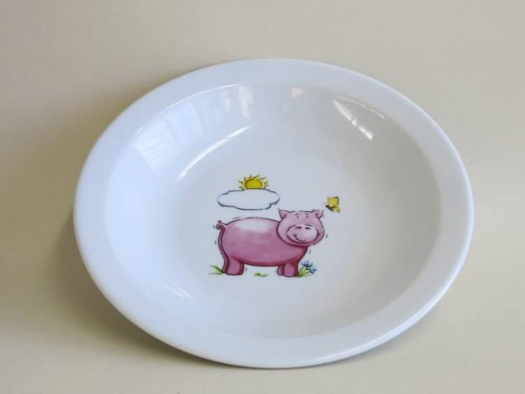 Kindergartenporzellan Teller tief scandia Schweinchen