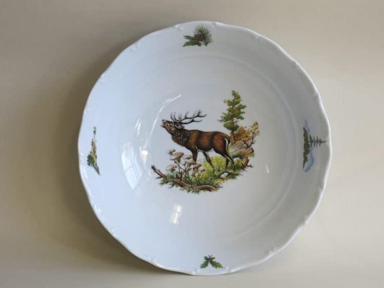 Salatschüssel 23 cm Ofelie mit Jagdmotiv röhrender Hirsch