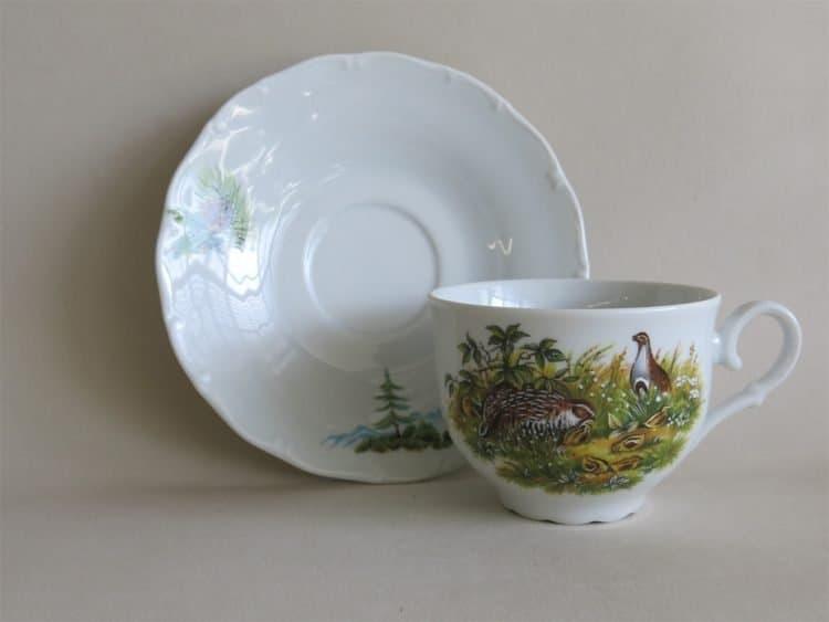 Teetasse Ofelie mit Untertasse und Jagdmotiv Rebhuhn