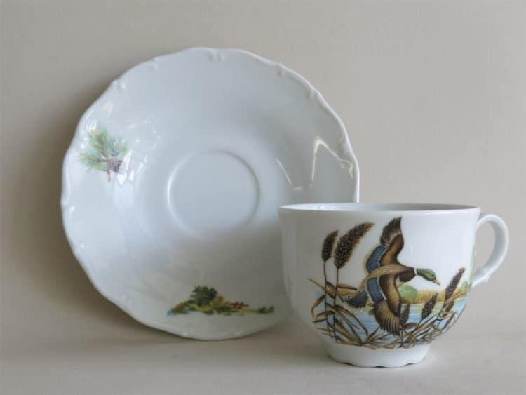 Teetasse Ofelie mit Unterteller und Jagdmotiv Wildenten