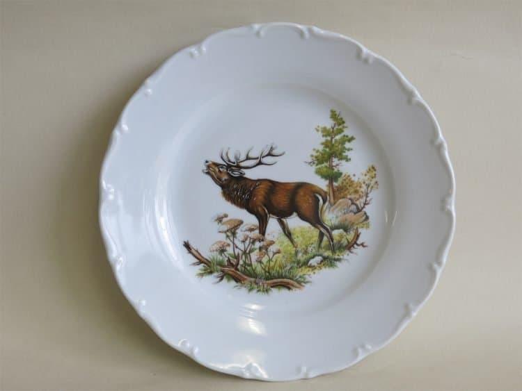 Frühstücks- oder Abendbrotteller Ofelie mit Jagdmotiv röhrender Hirsch