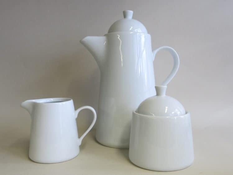 Weiße Porzellan Kaffeekanne Milchgießer u. Zuckerdose Opty 250 ml