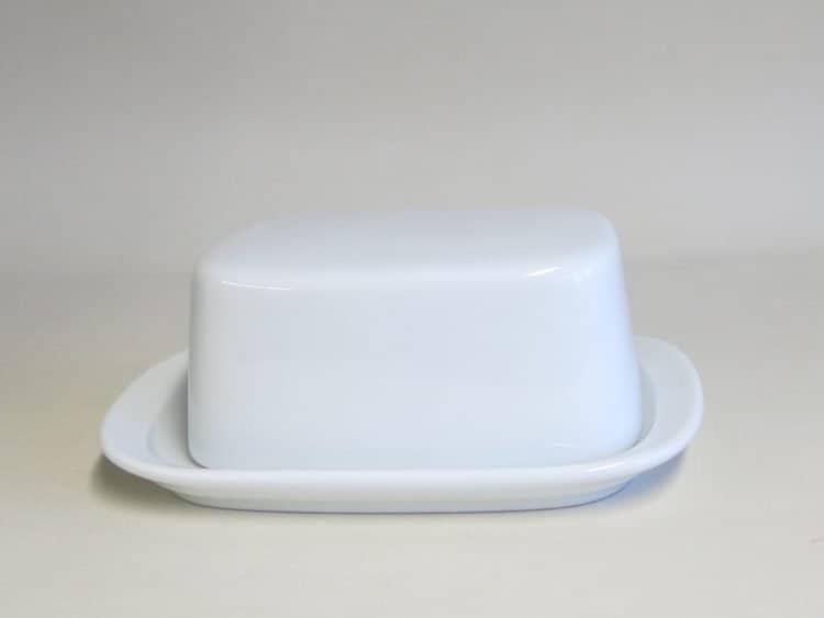 Weiße Porzellan Butterdose König klein für 125 gr. Butter