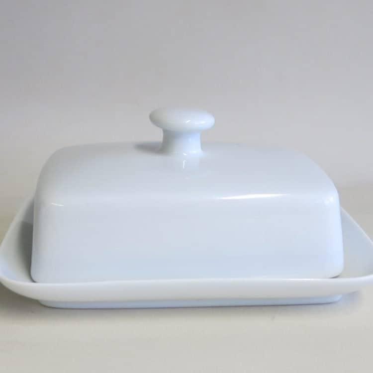 Weiße Porzellan Butterdose Kristof mit Knopf als Griff