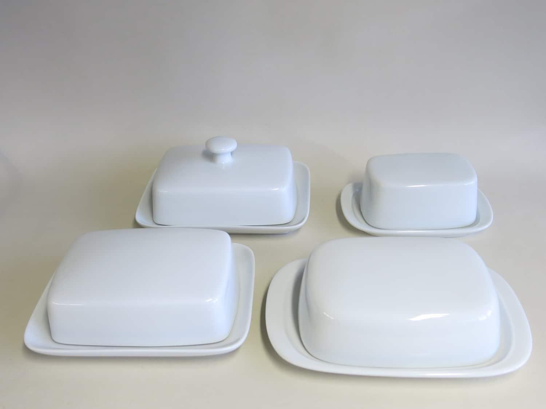 Weiße Porzellan Butterdosen König und Kristof