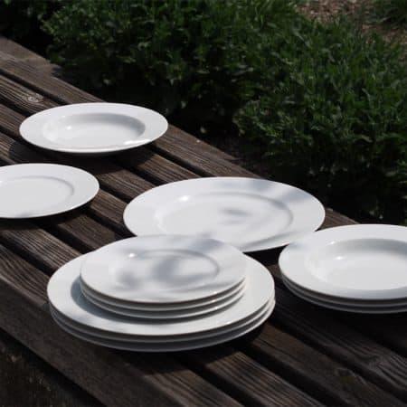 Weißes Porzellan Opty alle Teller