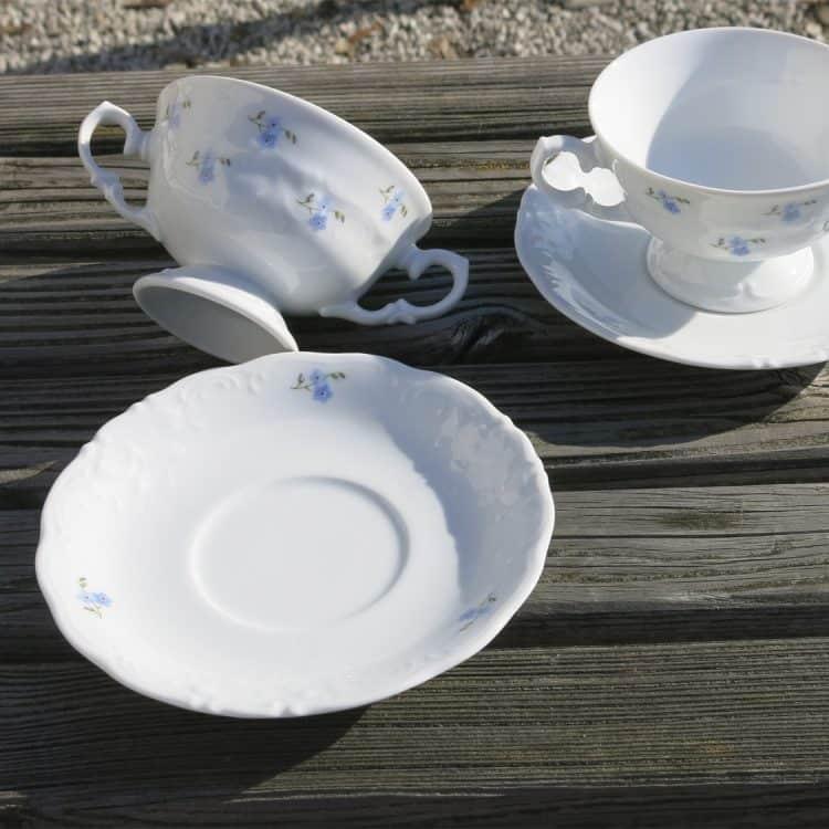 Suppentassen Friederike Vergissmeinnichtstreuer und Teller