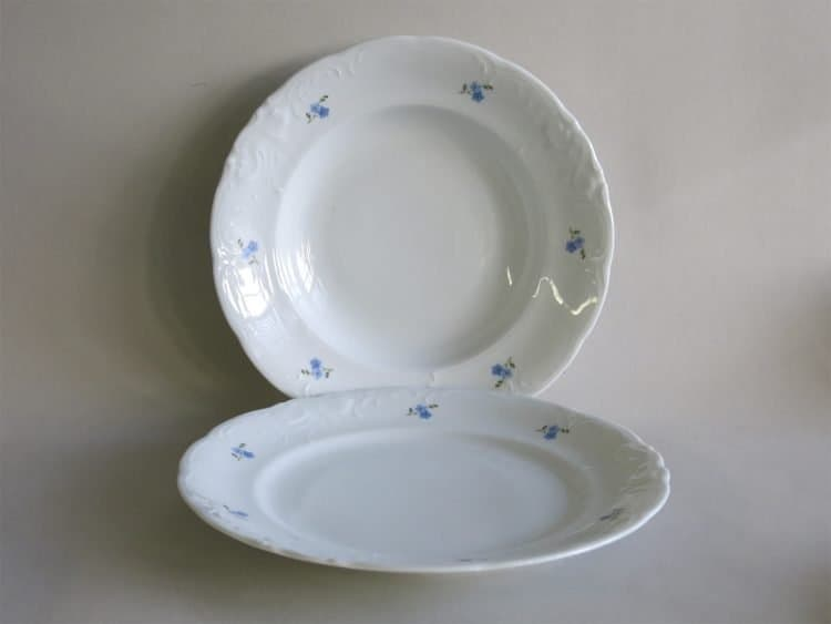 Teller 24 cm und Suppenteller Friederike Vergissmeinnichtblüten