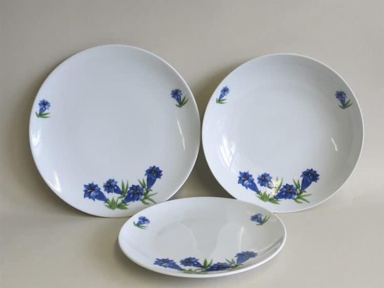 Enzian Teller 20 cm, Essteller 27 cm und Suppenteller