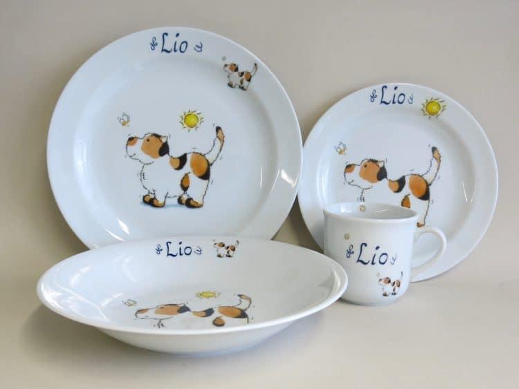 Set Essteller aus Porzellan personalisiert mit Hund und Biene