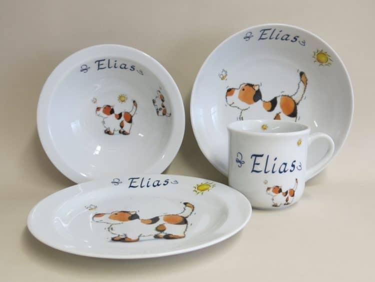 Set Hund mit Biene und Sonne auf Porzellan personalisiert