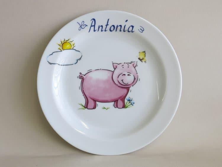 Teller aus Porzellan mit Schwein und Name