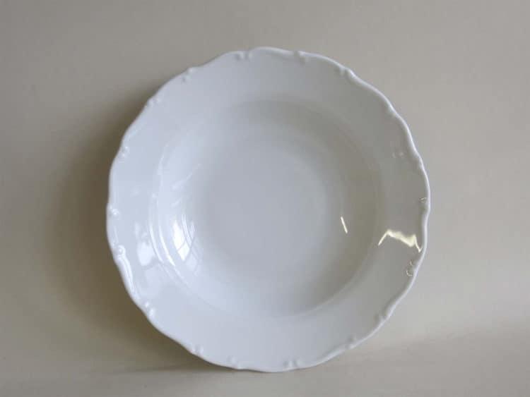Teller Ofelie Suppenteller tief aus weißem Porzellan mit Barockrändchen