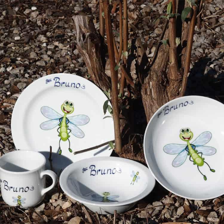 Kindergeschirr Porzellan Set Becher, Teller, Schale und Müslischüssel mit Linus Libelle