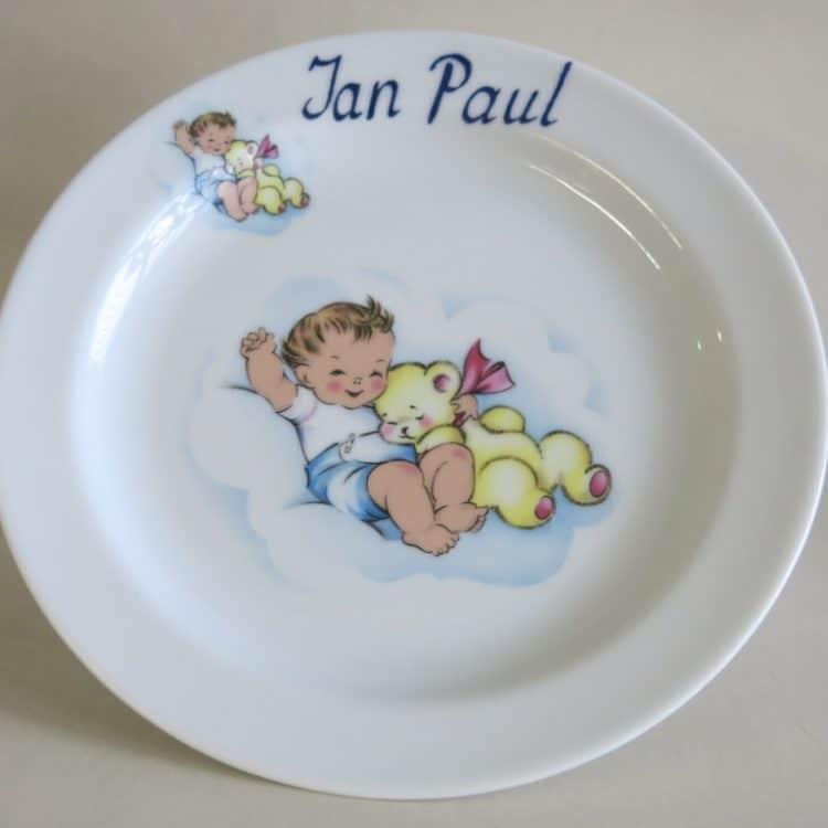Porzellan Teller 19 cm mit Baby mit Teddy