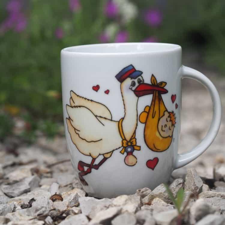 Frühstücksgeschirr Porzellan Becher Daria 260 ml mit Storch und Baby