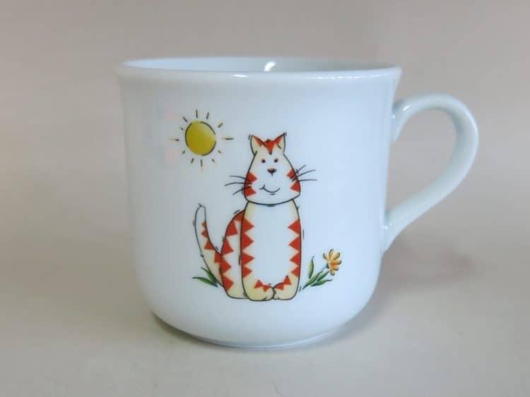 Kinderbecher 230 ml mit orangener Katze und Sonne