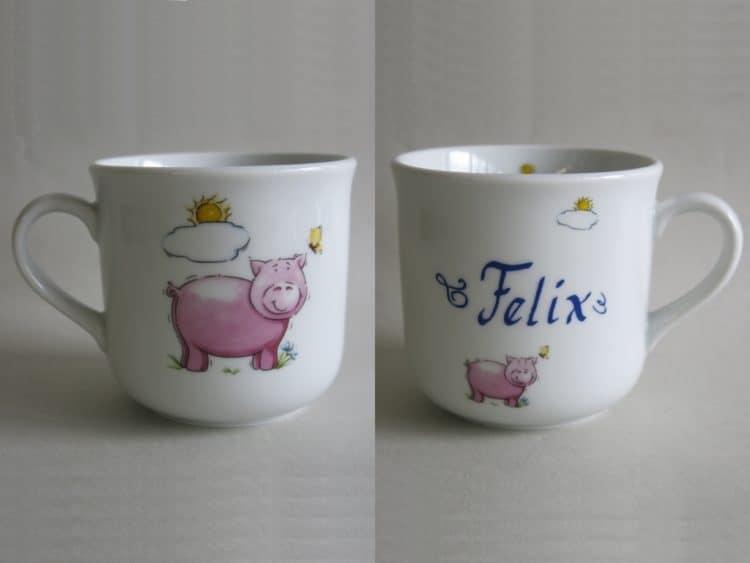 Kinderbecher 230 ml mit Schweinchen und Namen