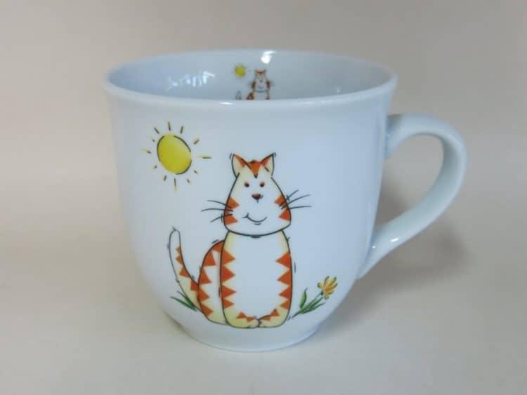 Großer Becher 400 ml mit Katze und Sonne aus Porzellan