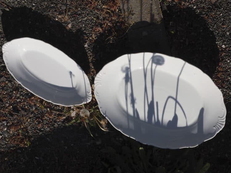 Beilagplatte und Vorlegeplatte aus weißem Porzellan mit schönem Rändchen und Schatten