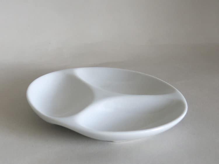 kleine Dippschale dreiteilig 12 cm aus weißem Porzellan