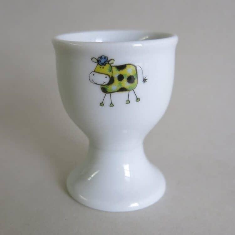 Frühstücksgeschirr hoher Eierbecher Kuh Fleckli