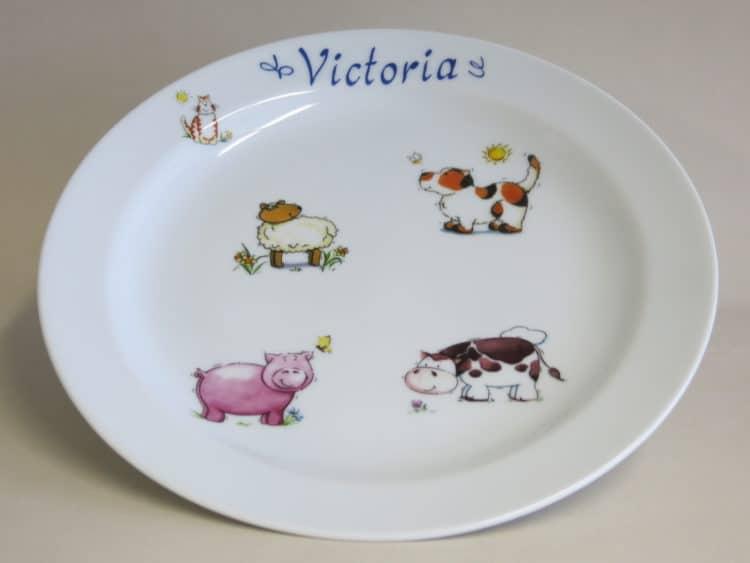 Essteller 24 cm mit Bauernhoftieren personalisiert