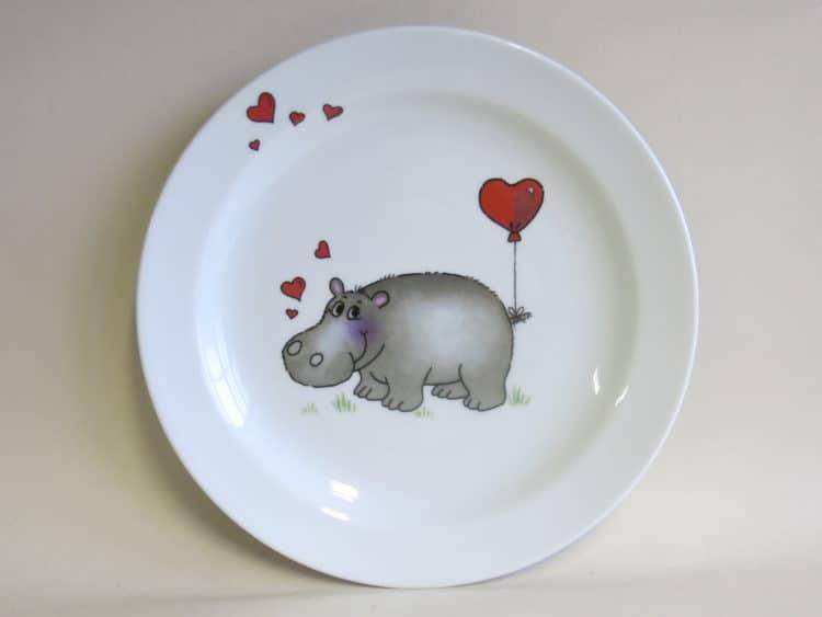 Kindergeschirr Porzellan Essteller 24 cm Nilpferd mit Herz