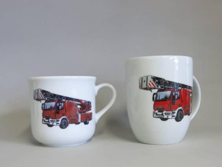 Kinder- oder Frühstücksset rundlicher Becher Kid und Becher Daria, Feuerwehr realistisch