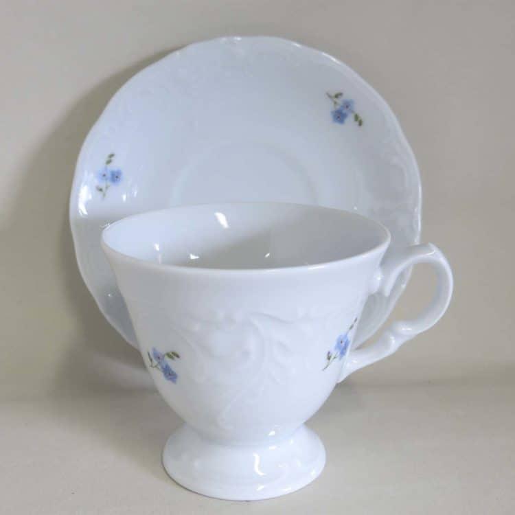 Friederike Kaffeetasse Füßchen u. Unterteller 2 Vergissmeinnicht