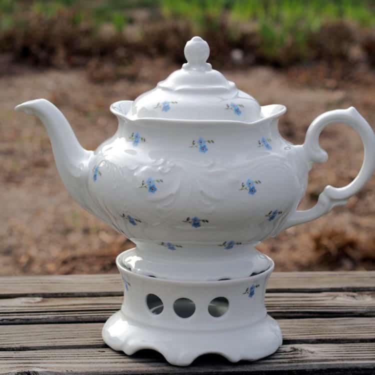 Teekanne 1,2l und passendes Stövchen Freiderike mit Vergissmeinnicht
