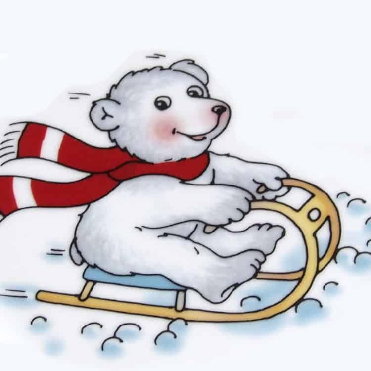 Eisbär mit Schlitten Kindergarten Porzellan Motiv